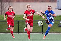 Allston, MA - Sunday, May 1, 2016:  Portland Thorns FC midfielder Meleana Shim (6), Portland Thorns FC defender Emily Sonnett (16) and Boston Breakers midfielder Kyah Simon (17) in a match at Jordan Field, Harvard University.