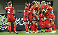 Portland, OR - Saturday July 30, 2016: Nadia Nadim celebrates scoring during a regular season National Women's Soccer League (NWSL) match between the Portland Thorns FC and Seattle Reign FC at Providence Park.