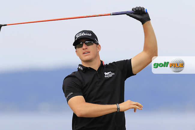 Morgan Hoffmann (USA) tees off the 18th tee during Thursday's Round 1 of the 2015 U.S. Open 115th National Championship held at Chambers Bay, Seattle, Washington, USA. 6/18/2015.<br /> Picture: Golffile | Eoin Clarke<br /> <br /> <br /> <br /> <br /> All photo usage must carry mandatory copyright credit (&copy; Golffile | Eoin Clarke)