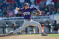 TCU Horned Frogs pitcher Durbin Feltman (15) delivers a pitch to the plate against the Texas Tech Red Raiders in Game 3 of the NCAA College World Series on June 19, 2016 at TD Ameritrade Park in Omaha, Nebraska. TCU defeated Texas Tech 5-3. (Andrew Woolley/Four Seam Images)