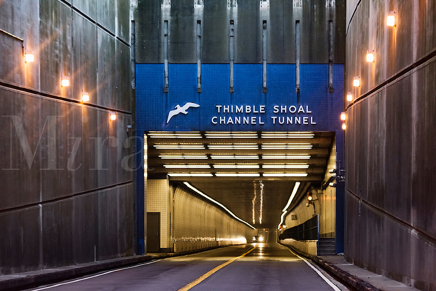 The Thimble Shoal Tunnel on the Chesapeake Bay Bridge, Maryland, USA