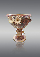 Luxury Minoan Kamares banqueting Ware  krater richly decorated with appiique lilies, Phaistos  1800-1700 BC; Heraklion Archaeological  Museum, grey background.<br /> <br /> This style of pottery is named afetr Kamares cave where this style of pottery was first found.