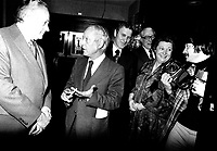 Quebec Premier Rene Levesque and Minister Lise Payette attend an event on January 27, 1977.<br /> <br /> File Photo : Agence Quebec Presse - Alain Renaud
