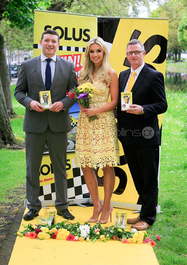 ***NO FEE PIC ***<br /> 23/05/2016 <br /> (L to R) Chris Furey, Director of Smith Furey Group, Former Miss World Rosanna Davison &amp; David Reynolds, Sales and Marketing Director, Solus  launch the search for Solus Brightest at Bloom from the yellow carpet at Mespil Road, Dublin.<br />  On Sunday June 5th at 2pm at the Solus Garden at Bloom in the Phoenix Park, the Brightest at Bloom will be chosen on the yellow carpet from ten finalists.  Solus Brightest at Bloom is a nod to ladies day but all-inclusive, open to ladies, gentlemen, children and all sunny dispositions young &hellip; and not so young!  It is not just about fashion but more about luminosity, brightness and light.  See details on Solus Facebook Page to enter.<br /> Photo: Gareth Chaney Collins