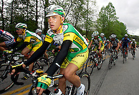 Robert Hunter, of Phonak Hearing Systems, rides in the peloton during Stage 5 of the Ford Tour de Georgia. Tom Danielson, of the Discovery Channel Pro Cycling Team, won the 94.5-mile (152.1-km) stage from Blairsville to the top of Brasstown Bald, the highest point in the state. Hunter finished 28th.<br />
