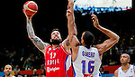 France's (R) Rudy Gobert vies with Serbia's Miroslav Raduljica (L) during European championship basketball match for third place between France and Serbia on September 20, 2015 in Lille, France  (credit image & photo: Pedja Milosavljevic / STARSPORT)