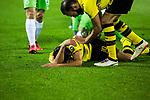 14.01.2018, Signal Iduna Park, Dortmund, GER, 1.FBL, Borussia Dortmund vs VfL Wolfsburg, <br /> <br /> im Bild | picture shows:<br /> Mahmoud Dahoud (Borussia Dortmund #19) bleibt nach Foulspiel am Boden liegen, <br /> <br /> Foto &copy; nordphoto / Rauch