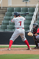 Joel Fisher (7) of the Lakewood BlueClaws at bat against the Kannapolis Intimidators at CMC-Northeast Stadium on May 17, 2015 in Kannapolis, North Carolina.  The Intimidators defeated the BlueClaws 4-1.  (Brian Westerholt/Four Seam Images)