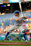 21 June 2010: Kansas City Royals left fielder Scott Podsednik in action against the Washington Nationals at Nationals Park in Washington, DC. The Nationals edged out the Royals 2-1 to take the first game of their 3-game interleague series and snap a 6-game losing streak. Mandatory Credit: Ed Wolfstein Photo
