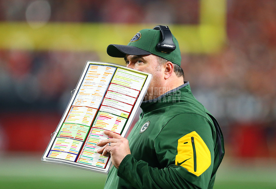 Jan 16, 2016; Glendale, AZ, USA; Green Bay Packers head coach Mike McCarthy against the Arizona Cardinals during the NFC Divisional round playoff game at University of Phoenix Stadium. Mandatory Credit: Mark J. Rebilas-USA TODAY Sports
