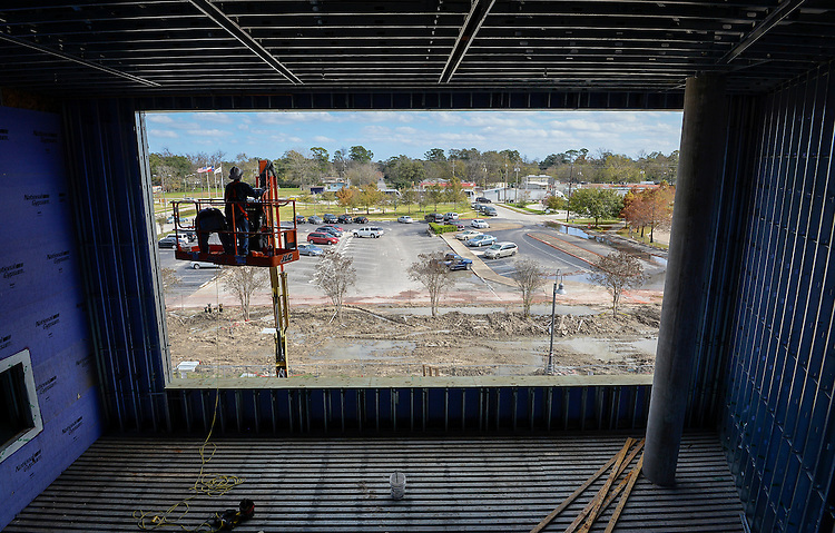 Construction crews work on the new North Houston Early College High School, December 15, 2015.