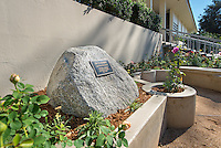 """Garden next to the Norris Hall of Chemistry. Plaque reads, """"Dr. O's Garden, dedicated to the memory of Tetsuo Otsuki, professor of chemistry, 1986-2012."""" (Photo by Marc Campos, Occidental College Photographer)"""