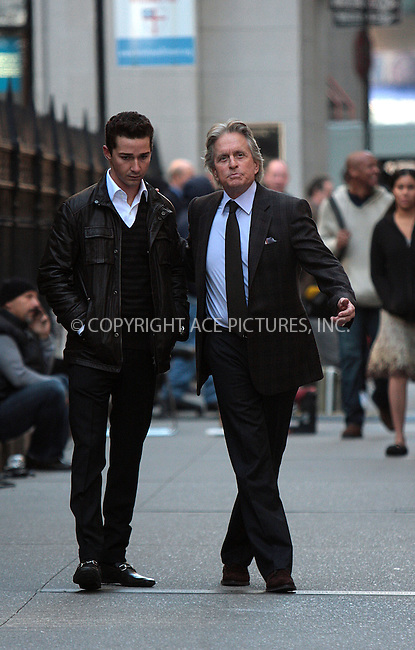 WWW.ACEPIXS.COM . . . . .  ....October 8 2009, New York City....Actors Shia Lebeouf and Michael Douglas on the Manhattan set of the new movie 'Wall Street 2' on October 8 2009 in New York City....Please byline: AJ Sokalner - ACEPIXS.COM..... *** ***..Ace Pictures, Inc:  ..tel: (212) 243 8787..e-mail: info@acepixs.com..web: http://www.acepixs.com
