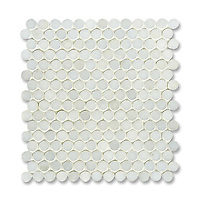 2 cm Pennyrounds shown in Paperwhite (available in polished finish) is part of New Ravenna's Studio Line of ready to ship mosaics.