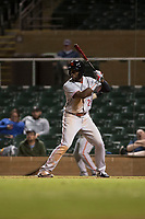 Scottsdale Scorpions left fielder Taylor Trammell (26), of the Cincinnati Reds organization, at bat during an Arizona Fall League game against the Salt River Rafters at Salt River Fields at Talking Stick on October 11, 2018 in Scottsdale, Arizona. Salt River defeated Scottsdale 7-6. (Zachary Lucy/Four Seam Images)
