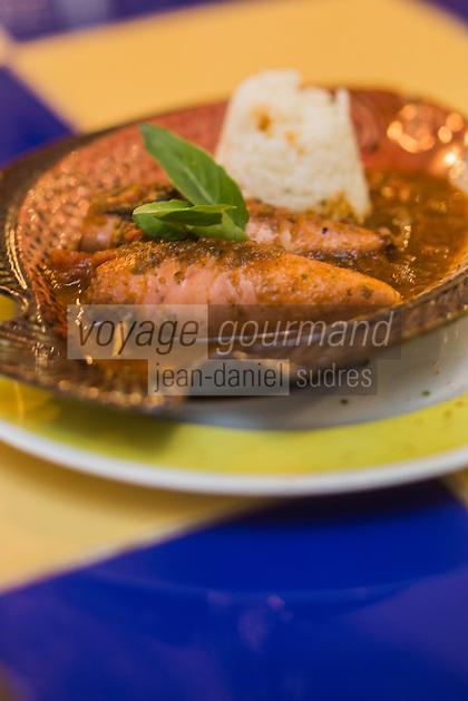 France, Bouches-du-Rhône (13), Marseille, capitale européenne de la culture 2013,   Encornets farcis, Restaurant de poisson:  La Boite à Sardine  //  France, Bouches du Rhone, Marseille, european capital of culture 2013,   Stuffed squid, fish restaurant: La Boite à Sardine