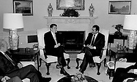 Washington, DC., USA, February 14, 1984<br /> President Ronald Reagan meets with President Hosni Mubarak of Egypt in the Oval Office of the White House. Credit: Mark Reinstein/MediaPunch