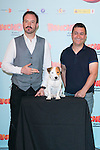 """Spanish actors Alex Odogherty (Left), Secun de la Rosa (Right) and Cook the dog attends thethe photocall of the presentation of the movie """"Pancho El Perro Millonario"""" at the NH Palacio de Tepa Hotel in Madrid, Spain. June 3, 2014. (ALTERPHOTOS/Carlos Dafonte)"""