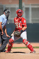 Cincinnati Reds catcher Morgan Lofstrom (69) during an Instructional League game against the Texas Rangers on October 4, 2016 at the Surprise Stadium Complex in Surprise, Arizona.  (Mike Janes/Four Seam Images)