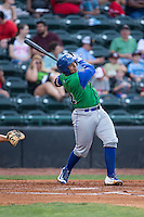 Xavier Fernandez (34) of the Lexington Legends follows through on his swing against the Hickory Crawdads at L.P. Frans Stadium on April 29, 2016 in Hickory, North Carolina.  The Crawdads defeated the Legends 6-2.  (Brian Westerholt/Four Seam Images)