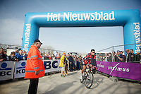 Greg Van Avermaet (BEL/BMC) off to the start sign-in podium<br /> <br /> Gent-Wevelgem 2014