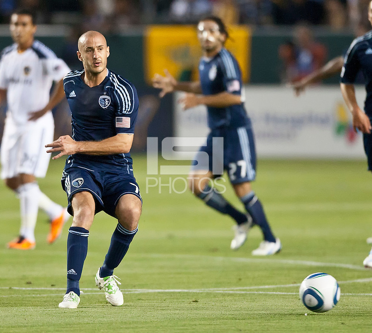 CARSON, CA – May 14, 2011: Sporting KC defender Aurelien Collin (78) during the match between LA Galaxy and Sporting Kansas City at the Home Depot Center in Carson, California. Final score LA Galaxy 4, Sporting Kansas City 1.