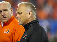 Charlotte, NC - December 3, 2017: Miami Hurricanes head coach Mark Richt after the ACC championship game between Miami and Clemson at Bank of America Stadium in Charlotte, NC. Clemson defeated Miami 38-3 for their third consecutive championship title. (Photo by Elliott Brown/Media Images International)
