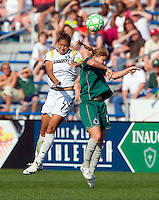 Los Angeles Sol midfielder Shannon Boxx (7) and St Louis Athletica midfielder Lori Chalupny (17) leap for the ball during a WPS match at Hermann Stadium, in St. Louis, MO, April 25 2009. The match ended in a 0-0 tie.