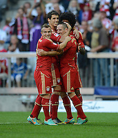 FUSSBALL   1. BUNDESLIGA  SAISON 2012/2013   7. Spieltag FC Bayern Muenchen - TSG Hoffenheim    06.10.2012 Jubel nach dem Tor zum 2:0 Xherdan Shaqiri, Javi , Javier Martinez und  Franck Ribery (v. li., FC Bayern Muenchen)
