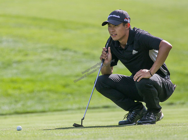 Collin Morikawa lines up a putt on the 18th green during the Barracuda Championship PGA golf tournament at Montrêux Golf and Country Club in Reno, Nevada on Sunday, July 28, 2019.