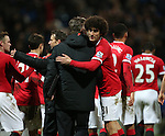 Manchester United's Marouane Fellaini celebrates at the final whistle with Louis Van Gaal<br /> <br /> FA Cup - Preston North End vs Manchester United  - Deepdale - England - 16th February 2015 - Picture David Klein/Sportimage