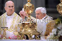Pope Benedict XVI leads the New Year solemn mass in Saint Peter's Basilica at the Vatican, 01 January 2011.