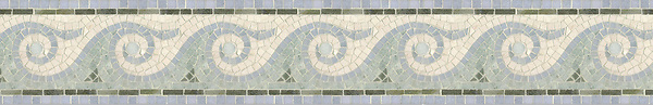 "6 1/2"" Breaker's Wave border, a hand-cut mosaic shown in honed Ivory Cream, polished Verde Luna, Celeste, and Ming Green by New Ravenna."