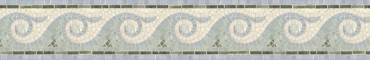 """6 1/2"""" Breaker's Wave border, a hand-cut mosaic shown in honed Ivory Cream, polished Verde Luna, Celeste, and Ming Green by New Ravenna."""