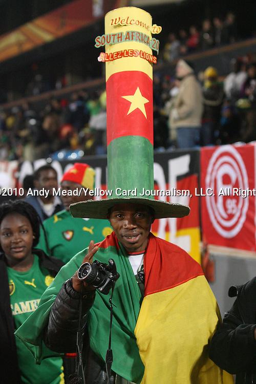 19 JUN 2010: A Cameroon fan, pregame. The Denmark National Team defeated the Cameroon National Team 2-1 at Loftus Versfeld Stadium in Tshwane/Pretoria, South Africa in a 2010 FIFA World Cup Group E match.
