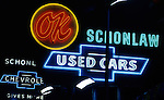 Neon signs for used car lot on La Brea Ave. in Holllywood, CA circa 1970s