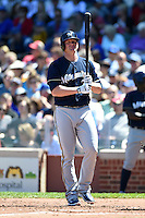 Milwaukee Brewers first baseman Lyle Overbay (24) at bat during a game against the Chicago Cubs on August 14, 2014 at Wrigley Field in Chicago, Illinois.  Milwaukee defeated Chicago 6-2.  (Mike Janes/Four Seam Images)
