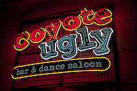 Looking up at the Coyote Ugly neon sign at New York New York in Las Vegas