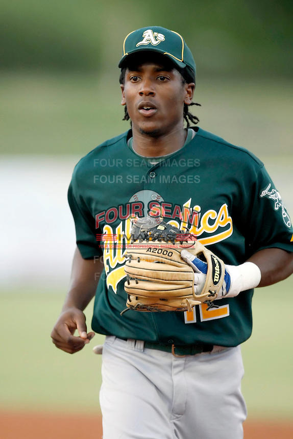 Jemile Weeks - AZL Athletics - 2010 Arizona League. Weeks is making a rehab appearance in an Arizona League game against the Angels at Diablo Stadium, Tempe, AZ - 07/09/2010..Photo by:  Bill Mitchell/Four Seam Images..