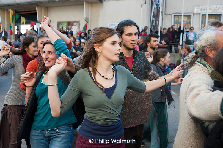 Dancing in the street.  Music and instrument-makers festival in St. Jean du Gard, France.