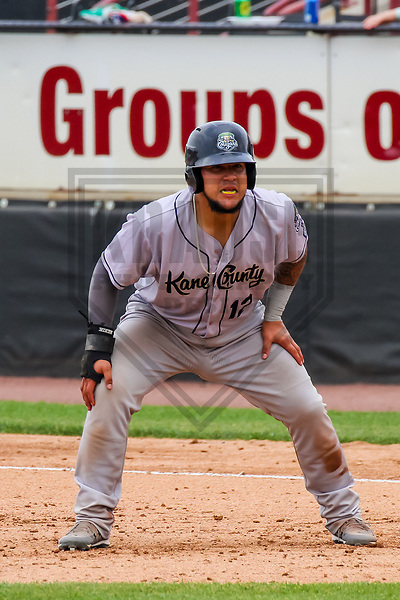 Kane County Cougars catcher Jose Herrera (12) during a Midwest League game against the Wisconsin Timber Rattlers on June 11, 2017 at Fox Cities Stadium in Appleton, Wisconsin.  Kane County defeated Wisconsin 6-4. (Brad Krause/Krause Sports Photography)