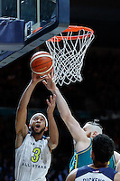 July 14, 2016: JORDAN MCLAUGHLIN (3) of the USC Trojans takes a shot during game 2 of the Australian Boomers Farewell Series between the Australian Boomers and the American PAC-12 All-Stars at Hisense Arena in Melbourne, Australia. Sydney Low/AsteriskImages.com