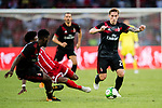 Bayern Munich Defender David Alaba (L) trips up with AC Milan Defender Lucas Biglia (R) during the 2017 International Champions Cup China  match between FC Bayern and AC Milan at Universiade Sports Centre Stadium on July 22, 2017 in Shenzhen, China. Photo by Marcio Rodrigo Machado / Power Sport Images