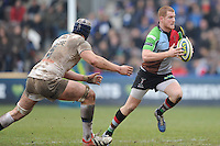 20130309 Copyright onEdition 2013©.Free for editorial use image, please credit: onEdition..Rory Clegg of Harlequins goes round Dave Attwood of Bath Rugby during the LV= Cup semi final match between Harlequins and Bath Rugby at The Twickenham Stoop on Saturday 9th March 2013 (Photo by Rob Munro)..For press contacts contact: Sam Feasey at brandRapport on M: +44 (0)7717 757114 E: SFeasey@brand-rapport.com..If you require a higher resolution image or you have any other onEdition photographic enquiries, please contact onEdition on 0845 900 2 900 or email info@onEdition.com.This image is copyright onEdition 2013©..This image has been supplied by onEdition and must be credited onEdition. The author is asserting his full Moral rights in relation to the publication of this image. Rights for onward transmission of any image or file is not granted or implied. Changing or deleting Copyright information is illegal as specified in the Copyright, Design and Patents Act 1988. If you are in any way unsure of your right to publish this image please contact onEdition on 0845 900 2 900 or email info@onEdition.com