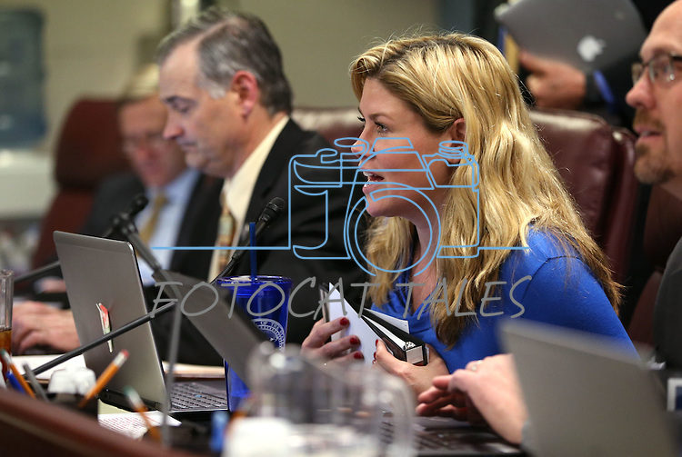 Nevada Senate Republicans James Settelmeyer and Patricia Farley work in committee at the Legislative Building in Carson City, Nev., on Wednesday, May 6, 2015.<br /> Photo by Cathleen Allison