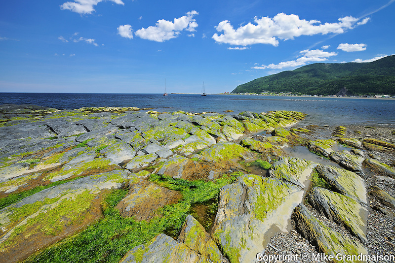 Rocky coastline along the Gulf of St. Lawrence<br /> Mont-Louis<br /> Quebec<br /> Canada
