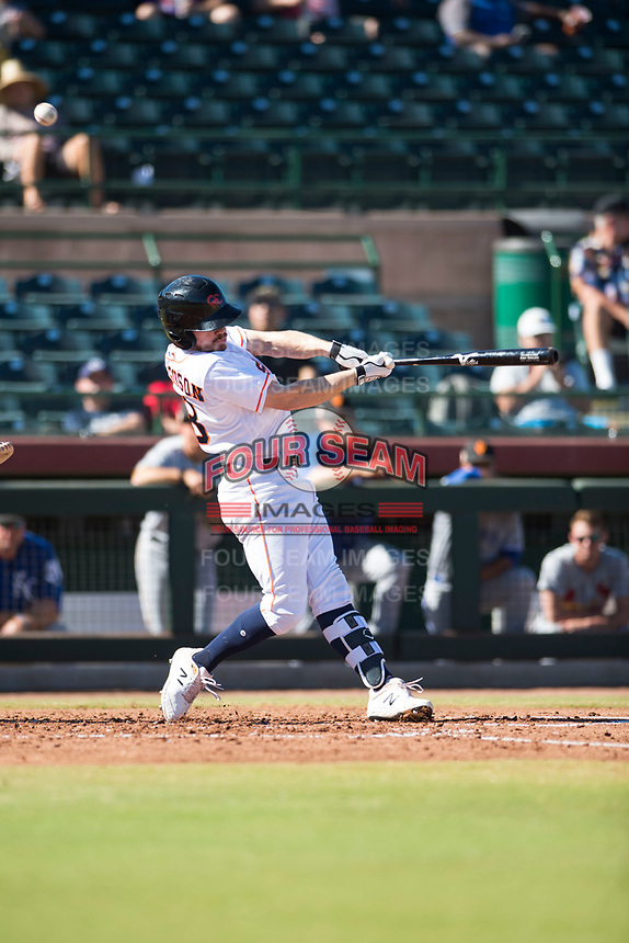 Scottsdale Scorpions right fielder Drew Ferguson (18), of the Houston Astros organization, follows through on his swing during an Arizona Fall League game against the Surprise Saguaros at Scottsdale Stadium on October 26, 2018 in Scottsdale, Arizona. Surprise defeated Scottsdale 3-1. (Zachary Lucy/Four Seam Images)