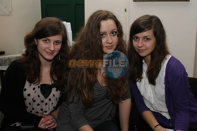 Klaudia Adamczyk, Magdalena Popiela and Kasia Libere at the Gala Night for Welcome Youth Project with their Polish Visitors...(Photo credit should read Jenny Matthews/www.newsfile.ie)....This Picture has been sent you under the conditions enclosed by:.Newsfile Ltd..The Studio,.Millmount Abbey,.Drogheda,.Co Meath..Ireland..Tel: +353(0)41-9871240.Fax: +353(0)41-9871260.GSM: +353(0)86-2500958.email: pictures@newsfile.ie.www.newsfile.ie.