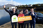 21-9-2017:  Mary Murphy, Post Mistress, Rerrin Post Office on Bere Island in County Cork pictured with Brendan Murphy and John Harrington and Fran Whearty, Communications Executive, The National Lottery after she sold a 500,000 Euro Millions Plus ticket pictured celebrating on Thursday.<br /> Photo: Don MacMonagle<br /> <br /> Issued on behlf of The National Lottery