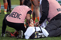 Joaquin Tuculet goes down injured during the Super Rugby match between the Chiefs and Jaguares at Rotorua International Stadum in Rotorua, New Zealand on Friday, 4 May 2018. Photo: Dave Lintott / lintottphoto.co.nz